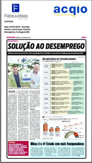 Acqio – Jornal Super Notícia – Solução ao desemprego – 07/01/2018